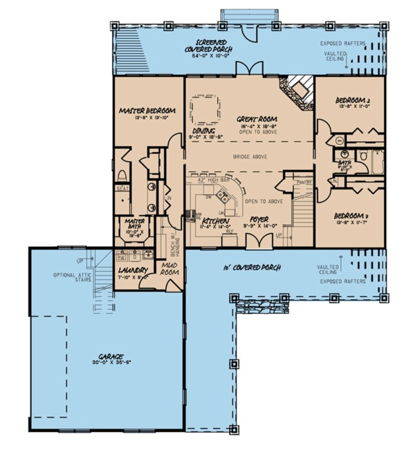 Farmhouse Floor Plan - Main Floor Plan Plan #923-106