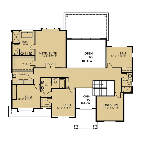 Country Floor Plan - Upper Floor Plan Plan #1066-42