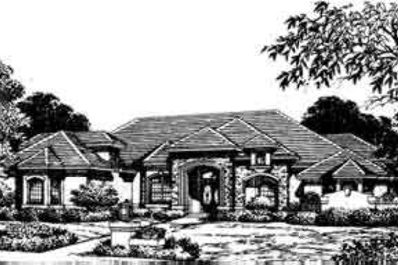 European Style House Plan - 4 Beds 5 Baths 4761 Sq/Ft Plan #135-108 Exterior - Front Elevation