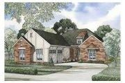 European Style House Plan - 2 Beds 2 Baths 1474 Sq/Ft Plan #17-1142 Exterior - Front Elevation