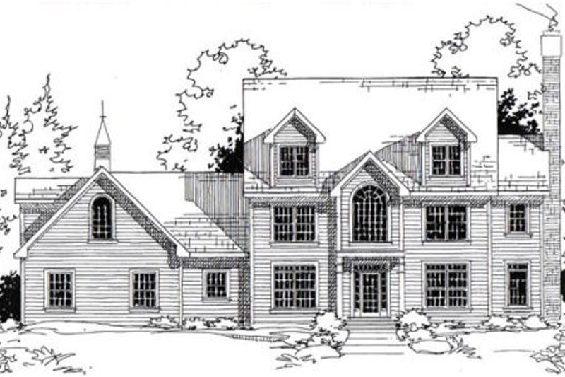 Colonial Style House Plan - 5 Beds 4.5 Baths 3717 Sq/Ft Plan #312-834 Exterior - Front Elevation