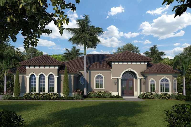 Mediterranean Style House Plan - 3 Beds 2.5 Baths 3051 Sq/Ft Plan #27-500 Exterior - Front Elevation