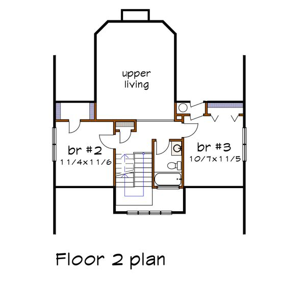 Craftsman Floor Plan - Upper Floor Plan Plan #79-222