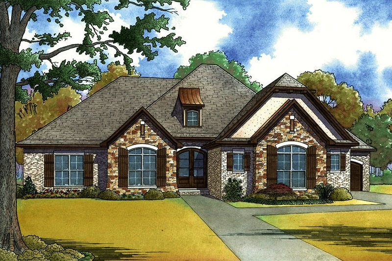 European Style House Plan - 4 Beds 2.5 Baths 1901 Sq/Ft Plan #923-62 Exterior - Front Elevation