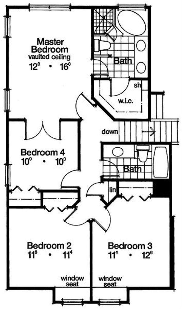 Mediterranean Floor Plan - Upper Floor Plan Plan #417-177
