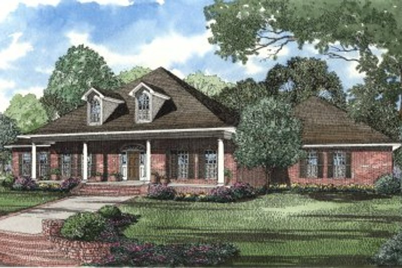 Traditional Style House Plan - 4 Beds 5 Baths 3474 Sq/Ft Plan #17-2001 Exterior - Front Elevation