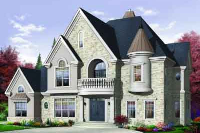 European Exterior - Front Elevation Plan #23-593