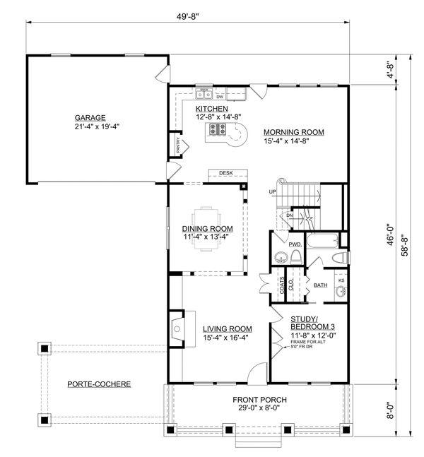 Bungalow Floor Plan - Main Floor Plan Plan #30-339