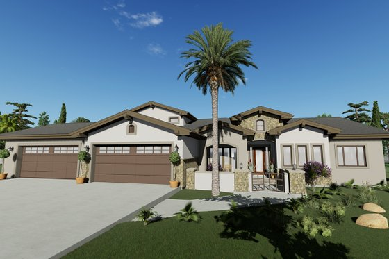 Adobe / Southwestern Exterior - Front Elevation Plan #1069-22