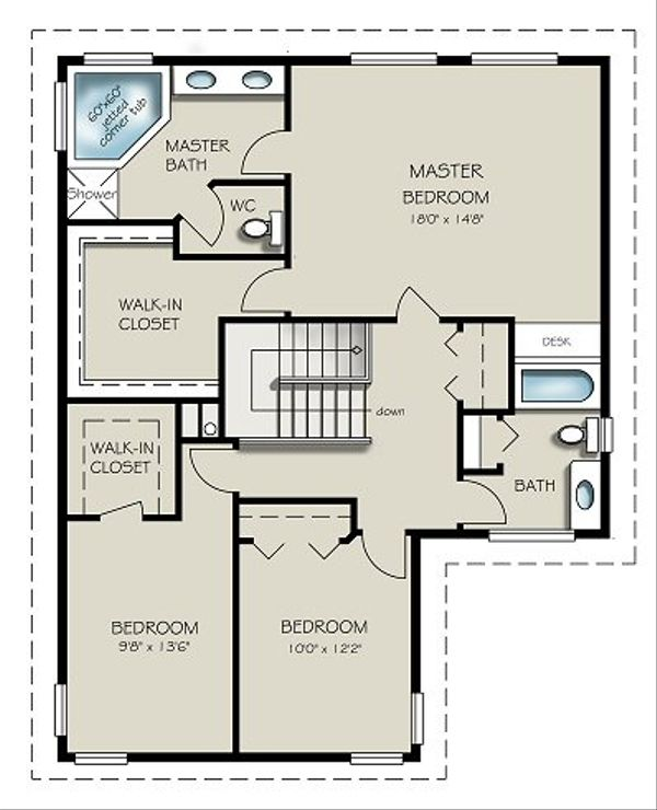 Traditional Floor Plan - Upper Floor Plan Plan #427-7