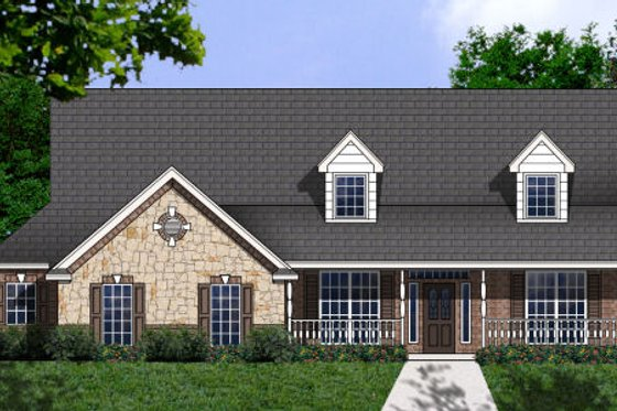 Country Exterior - Front Elevation Plan #62-130