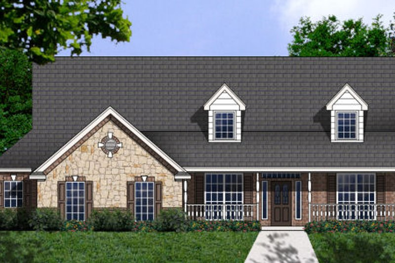 Country Style House Plan - 4 Beds 2 Baths 2597 Sq/Ft Plan #62-130 Exterior - Front Elevation