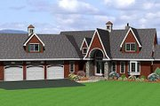European Style House Plan - 3 Beds 4.5 Baths 2990 Sq/Ft Plan #75-112 Exterior - Front Elevation