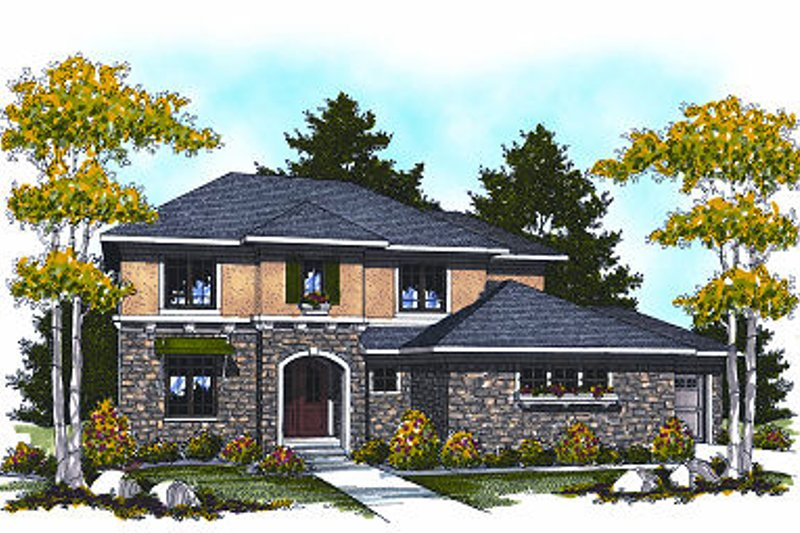 European Exterior - Front Elevation Plan #70-877