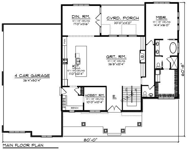 Craftsman Floor Plan - Main Floor Plan Plan #70-1470