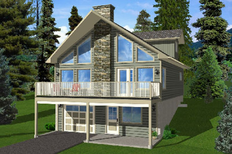Contemporary Style House Plan - 3 Beds 2 Baths 1916 Sq/Ft Plan #126-166 Exterior - Front Elevation