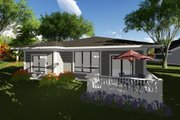Prairie Style House Plan - 2 Beds 2 Baths 1432 Sq/Ft Plan #70-1261 Exterior - Rear Elevation