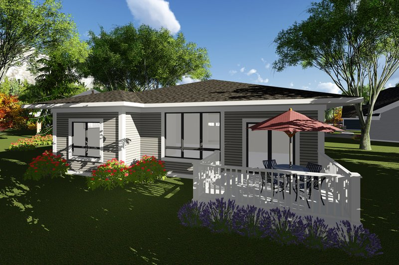 Prairie Exterior - Rear Elevation Plan #70-1261 - Houseplans.com