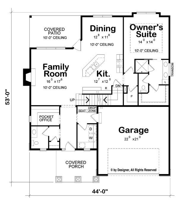 Craftsman Floor Plan - Main Floor Plan Plan #20-2261