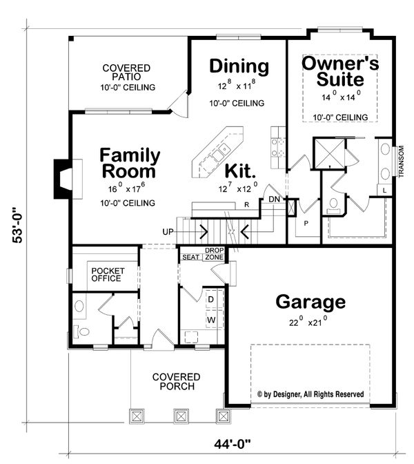 Home Plan - Craftsman Floor Plan - Main Floor Plan #20-2261