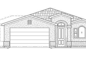Adobe / Southwestern Exterior - Front Elevation Plan #24-294