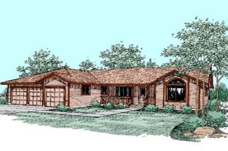 Ranch Style House Plan - 4 Beds 2 Baths 2223 Sq/Ft Plan #60-245 Exterior - Front Elevation