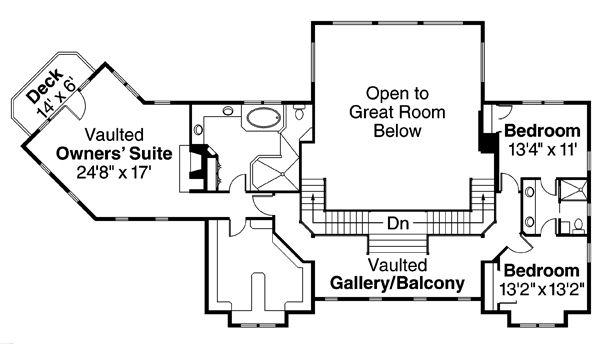 Craftsman Floor Plan - Upper Floor Plan Plan #124-674