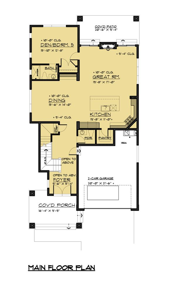 Contemporary Floor Plan - Main Floor Plan Plan #1066-50