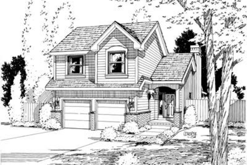 Traditional Style House Plan - 4 Beds 2.5 Baths 1772 Sq/Ft Plan #20-534 Exterior - Front Elevation