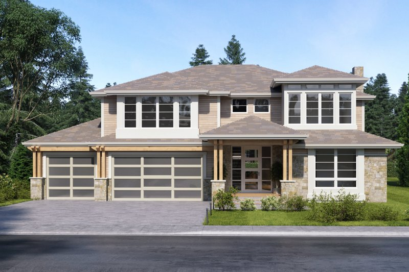 Contemporary Style House Plan - 4 Beds 3.5 Baths 3126 Sq/Ft Plan #1066-80 Exterior - Front Elevation