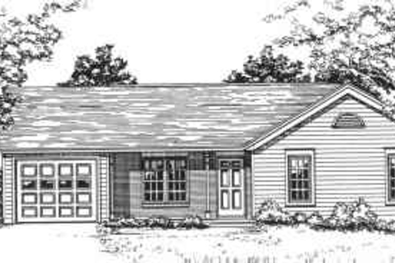 Ranch Style House Plan - 3 Beds 2 Baths 1377 Sq/Ft Plan #30-129 Exterior - Front Elevation