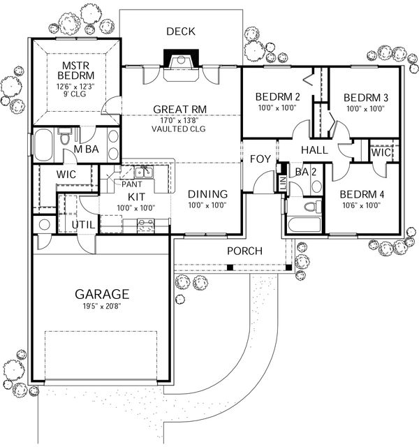 Ranch Floor Plan - Main Floor Plan Plan #80-102