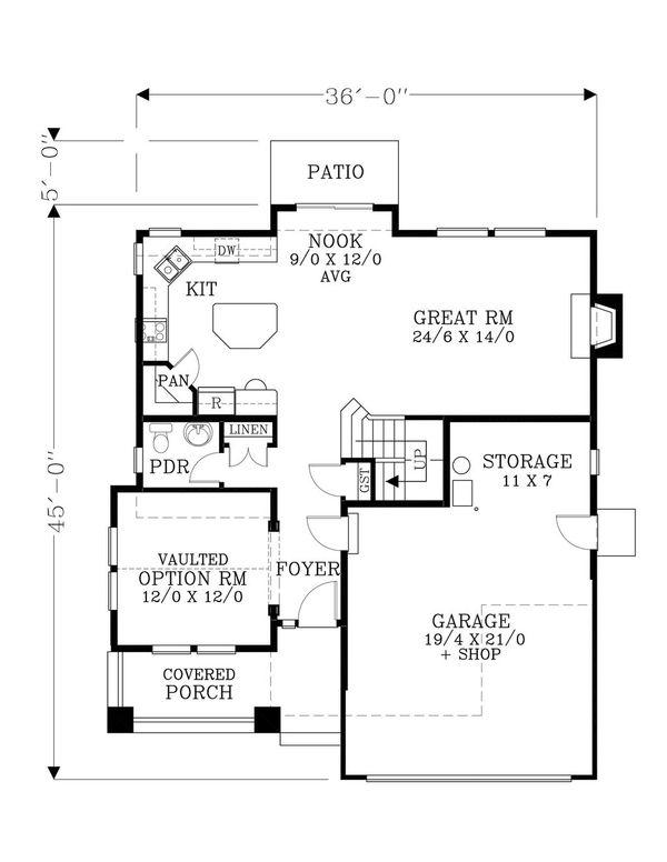 Craftsman Floor Plan - Main Floor Plan Plan #53-466