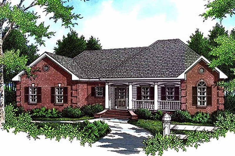 Southern Style House Plan - 3 Beds 2 Baths 1654 Sq/Ft Plan #21-126 Exterior - Front Elevation