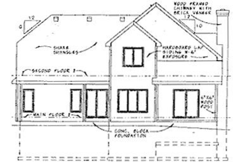 Southern Exterior - Rear Elevation Plan #20-550 - Houseplans.com