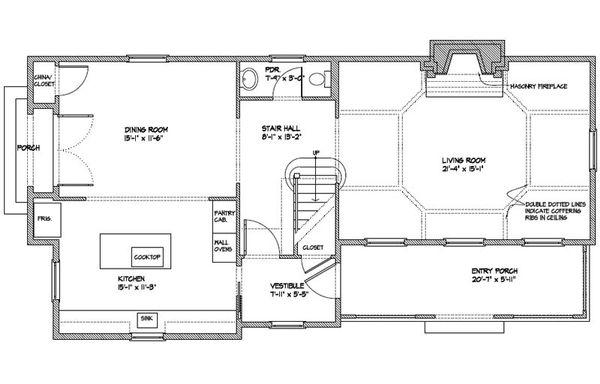 Colonial Floor Plan - Main Floor Plan Plan #477-5