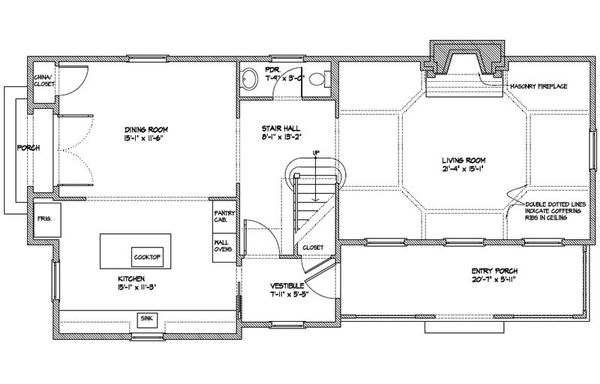Colonial Floor Plan - Main Floor Plan Plan #477-5