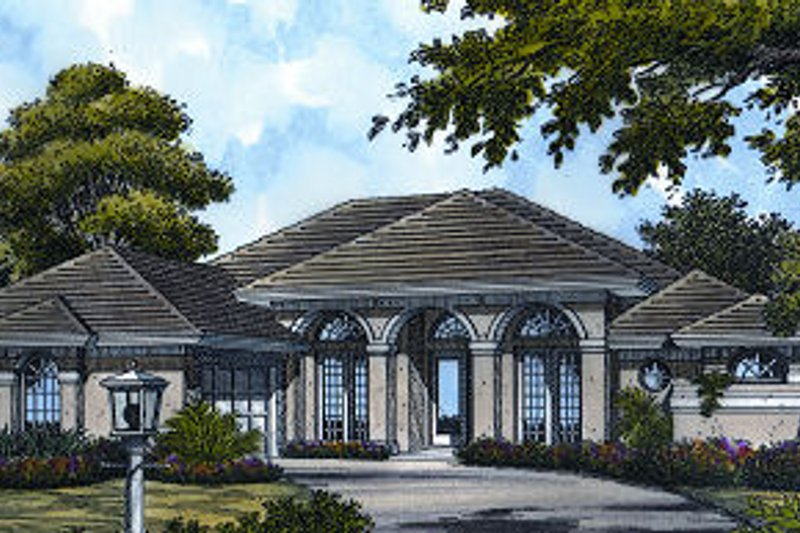 European Style House Plan - 3 Beds 3 Baths 2634 Sq/Ft Plan #417-298 Exterior - Front Elevation