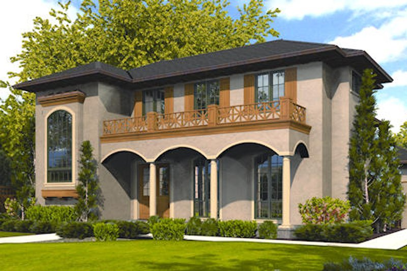 Mediterranean Exterior - Front Elevation Plan #48-243