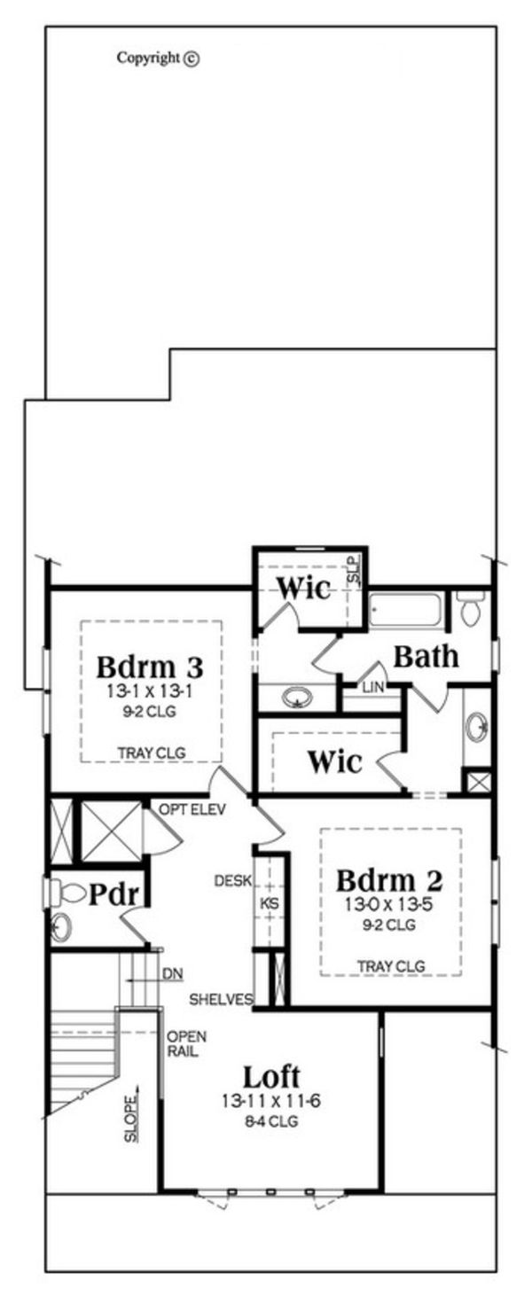 Craftsman Floor Plan - Upper Floor Plan Plan #419-302