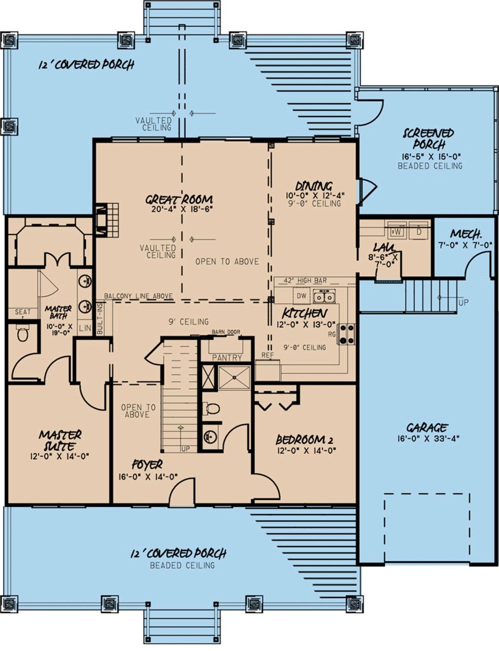 Craftsman Style House Plan - 4 Beds 3 Baths 2663 Sq/Ft Plan