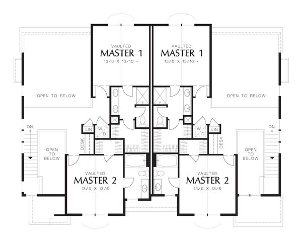 Craftsman Floor Plan - Upper Floor Plan Plan #48-626