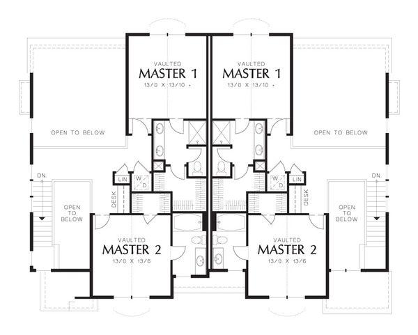 Craftsman Floor Plan - Upper Floor Plan Plan #48-626