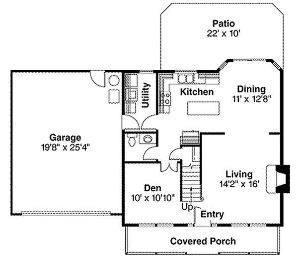 Cape Cod style house plan, main level floorplan