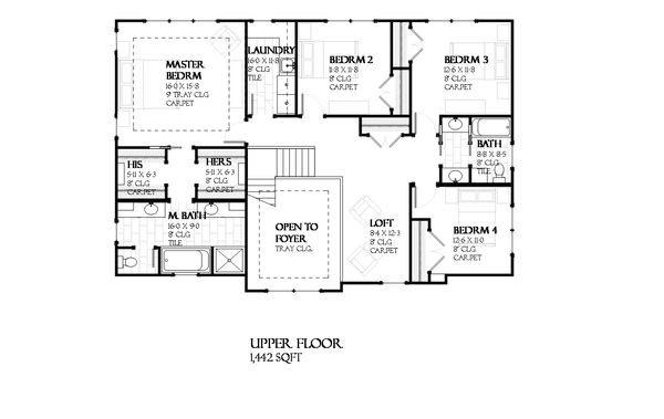 Traditional Floor Plan - Upper Floor Plan Plan #901-117