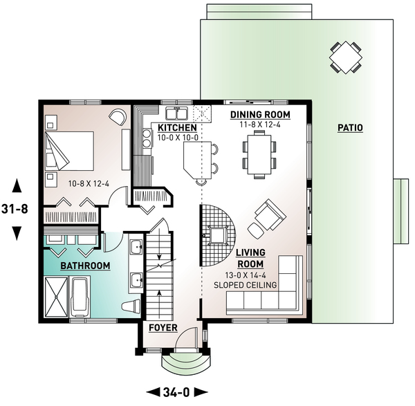 Contemporary Floor Plan - Main Floor Plan Plan #23-2037