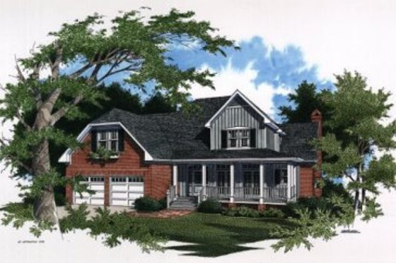 Country Exterior - Front Elevation Plan #41-163