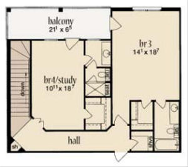 Farmhouse Floor Plan - Upper Floor Plan Plan #36-471
