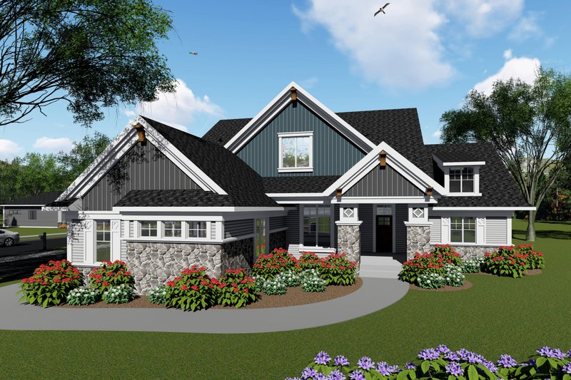 Ranch Style House Plan - 3 Beds 2.5 Baths 2495 Sq/Ft Plan #70-1425 Exterior - Front Elevation