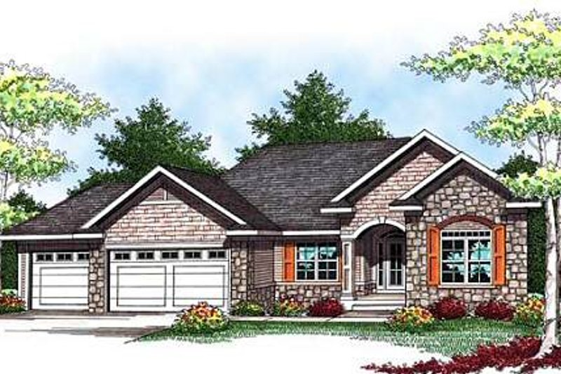 European Style House Plan - 2 Beds 2 Baths 1640 Sq/Ft Plan #70-931 Exterior - Front Elevation